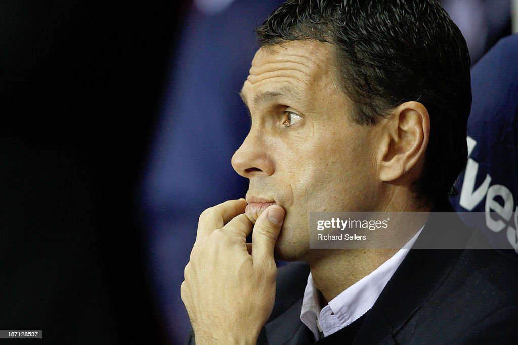 Manager Gus Poyet of Sunderland during the Capital One Cup fourth round match between Sunderland and Southampton at Stadium of Light on November 06, 2013 in Sunderland, England.