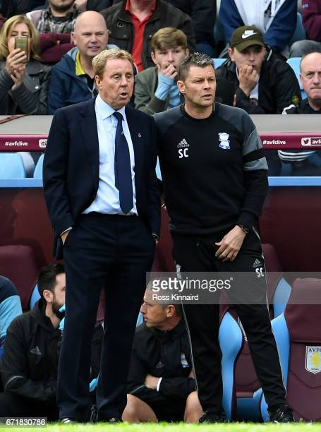Manager Harry Redknapp and coach Steve Cotterill of Birmingham City stand during the Sky Bet Championship match between Aston Villa and Birmingham...