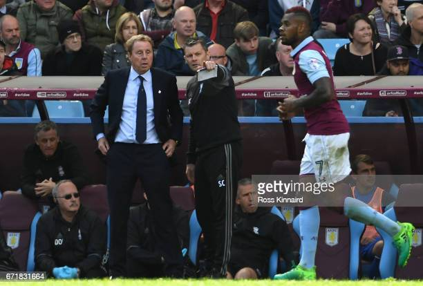 Manager Harry Redknapp and coach Steve Cotterill of Birmingham City discuss during the Sky Bet Championship match between Aston Villa and Birmingham...