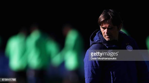 Manager / Head Coach Phillip Cocu looks on during the PSV Eindhoven training session held at De Herdgang on October 31 2016 in Eindhoven Netherlands...