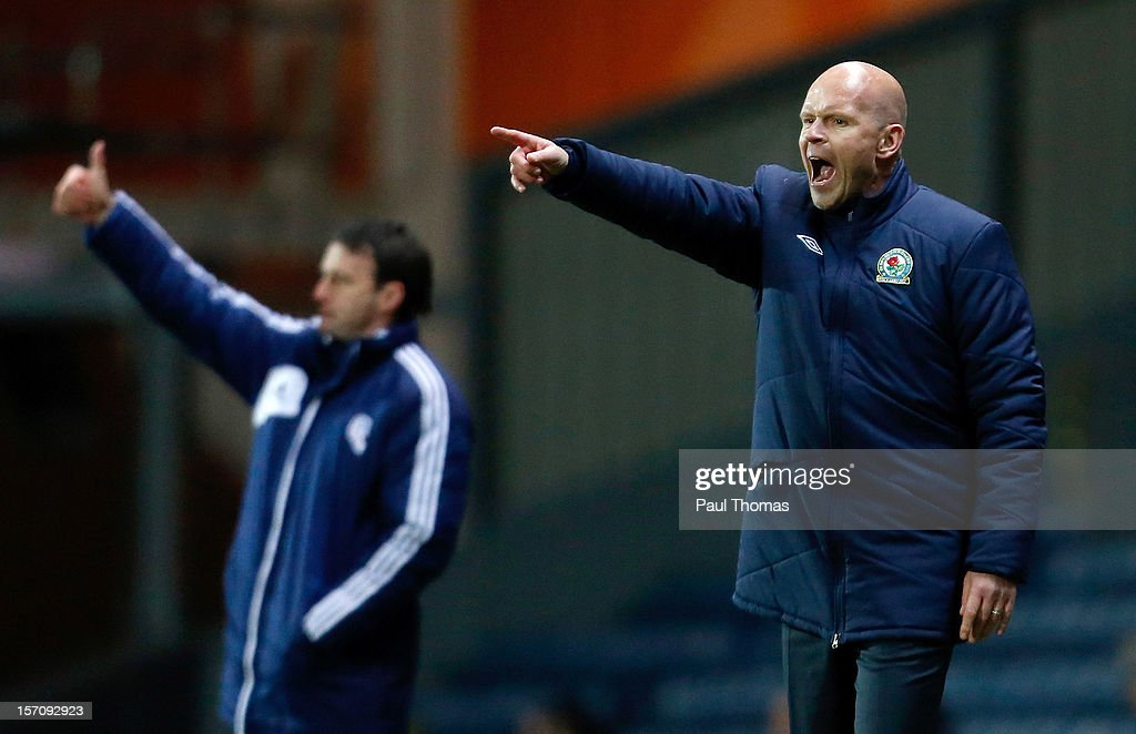 Manager Henning Berg of Blackburn gestures during the npower Championship match between Blackburn Rovers and Bolton Wanderers at Ewood Park on November 28, 2012 in Blackburn, England.