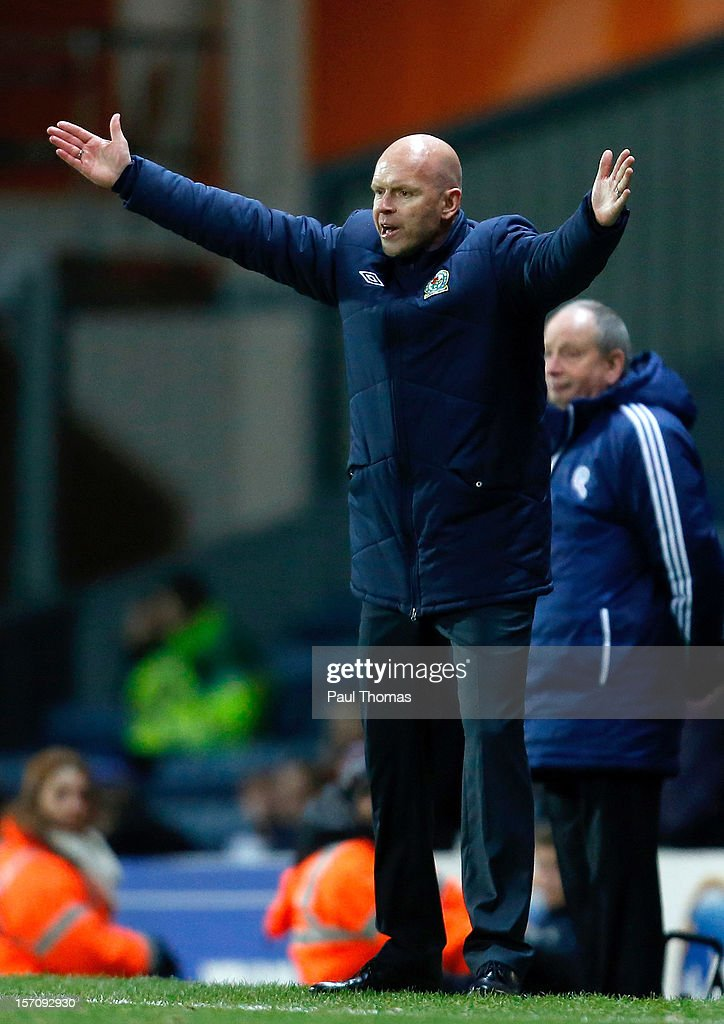 Manager Henning Berg of Blackburn reacts during the npower Championship match between Blackburn Rovers and Bolton Wanderers at Ewood Park on November 28, 2012 in Blackburn, England.