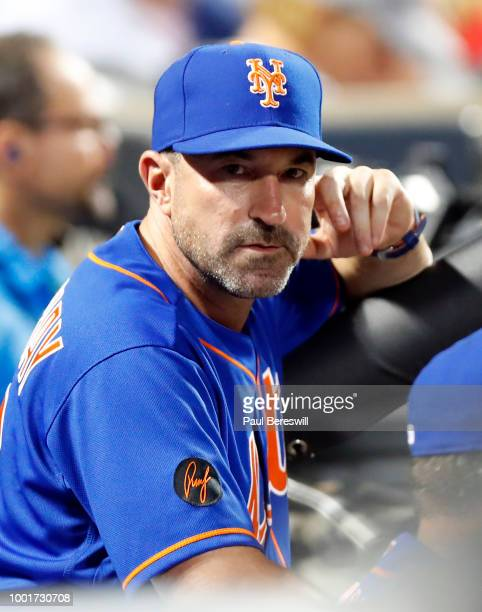 Manager ''hm looks over during an MLB baseball game against the Philadelphia Phillies on July 9 2018 at CitiField in the Queens borough of New York...