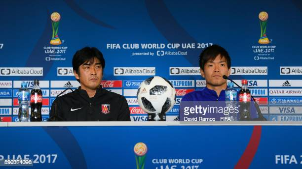 Manager Hori Takafumi and Shusaku Nishikawa of Urawa Red Diamonds faces the media ahead of their fifth place match against Wydad Casablanca at the...