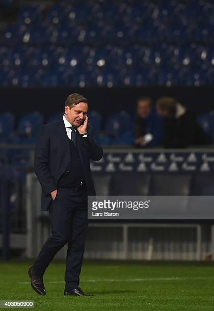 Manager Horst Held of Schalke walks on the pitch after the Bundesliga match between FC Schalke 04 and Hertha BSC Berlin at VeltinsArena on October 17...