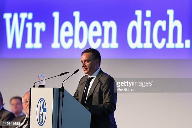 Manager Horst Heldt addresses the annual meeting of FC Schalke 04 at Emscher Lippe Halle on June 3 2012 in Gelsenkirchen Germany