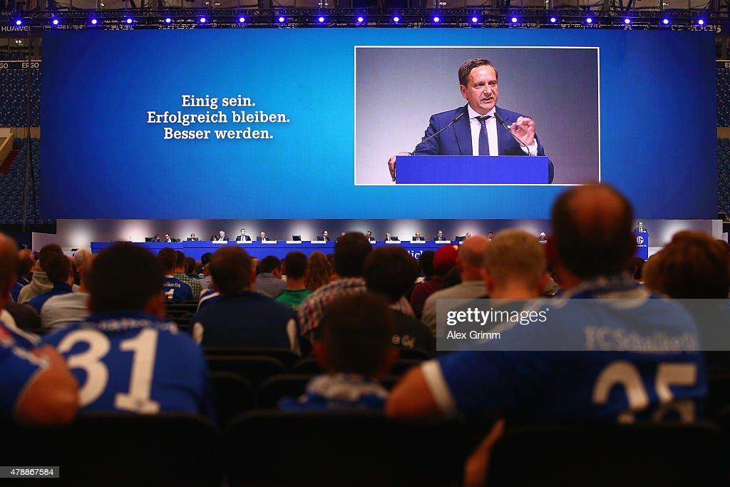Manager Horst Heldt addresses the general assembly of FC Schalke 04 at Veltins-Arena on June 28, 2015 in Gelsenkirchen, Germany.