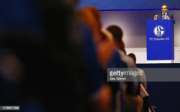Manager Horst Heldt addresses the general assembly of FC Schalke 04 at VeltinsArena on June 28 2015 in Gelsenkirchen Germany