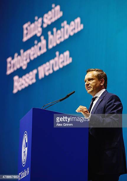 Manager Horst Heldt addresses the general assembly of FC Schalke 04 at VeltinsArena on June 28 2015 in Gelsenkirchen Germany
