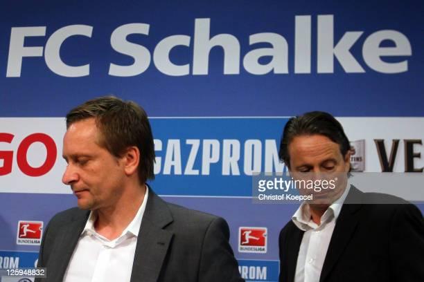 Manager Horst Heldt and doctor Thorsten Rarreck attend the FC Schalke press conference at the Veltins Arena on September 22 2011 in Gelsenkirchen...