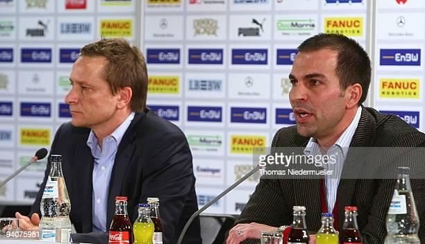 Manager Horst Heldt and Markus Babbel attend the VfB Stuttgart press conference at the Daimler Arena on December 6 2009 in Stuttgart Germany Markus...