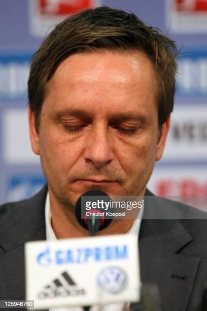 Manager Horst Heldt attends the FC Schalke press conference at the Veltins Arena on September 22 2011 in Gelsenkirchen Germany