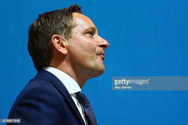 Manager Horst Heldt looks on during the general assembly of FC Schalke 04 at VeltinsArena on June 28 2015 in Gelsenkirchen Germany