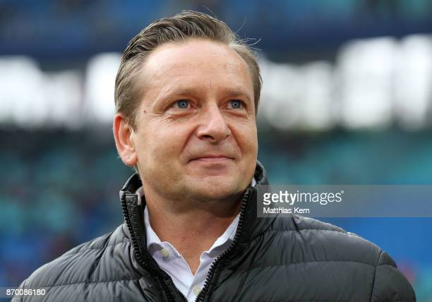 Manager Horst Heldt of Hannover looks on prior to the Bundesliga match between RB Leipzig and Hannover 96 at Red Bull Arena on November 4 2017 in...