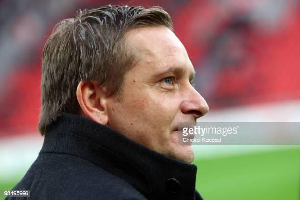 Manager Horst Heldt of Stuttgart is seen prior to during the Bundesliga match between Bayer Leverkusen and VfB Stuttgart at the BayArena on November...