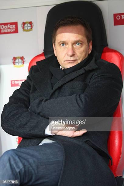 Manager Horst Heldt of Stuttgart looks thoughtful during the Bundesliga match between Bayer Leverkusen and VfB Stuttgart at the BayArena on November...