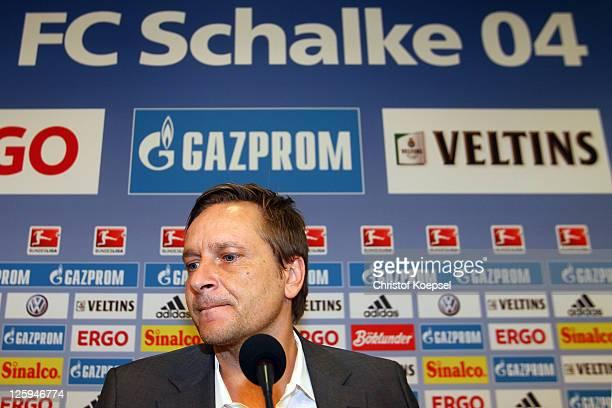 Manager Horst Heldt speaks during the FC Schalke press conference at the Veltins Arena on September 22 2011 in Gelsenkirchen Germany