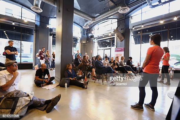 Manager Host Community Operations Airbnb Andrea Diamond and host community operations Airbnb Suana Wang speak during Expand Your Business Host for...