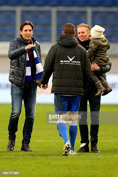 Manager Ivica Grlic Thomas Broeker and Dennis Grote of Duisburg celebrate after the 2 Bundesliga match between MSV Duisburg and SV Sandhausen at...