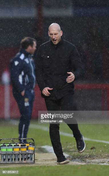 Manager Jaap Stam of Reading seems to get frustrated with his team during The Emirates FA Cup Third Round match between Stevenage and Reading at The...