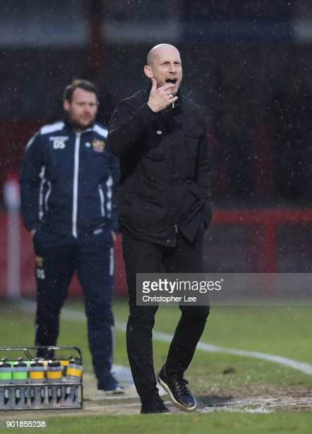 Manager Jaap Stam of Reading shouts orders to his team during The Emirates FA Cup Third Round match between Stevenage and Reading at The Lamex...