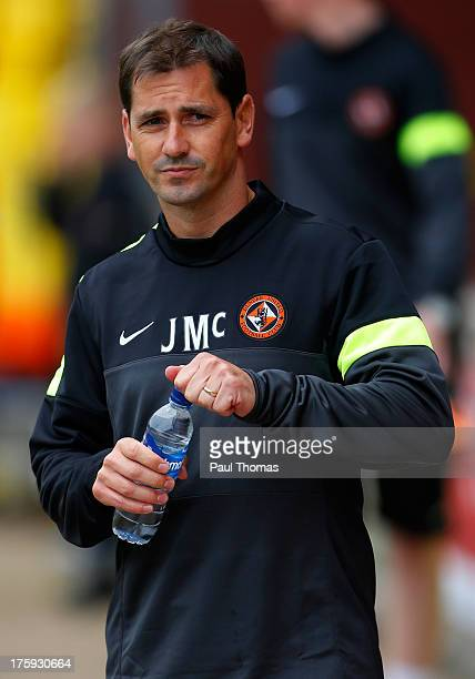 Manager Jackie McNamara of Dundee United looks on during the Scottish Premier League match between Dundee United and Inverness Caledonian Thistle at...