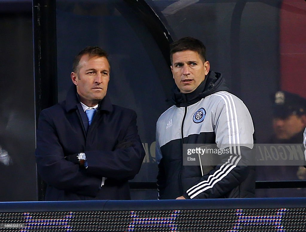 Manager Jason Kreis of the New York City FC watches his team as they take on the New England Revolution during the inaugural game of the New York City FC at Yankee Stadium on March 15, 2015 in the Bronx borough of New York City.The New York City FC defeated the New England Revolution 2-0.