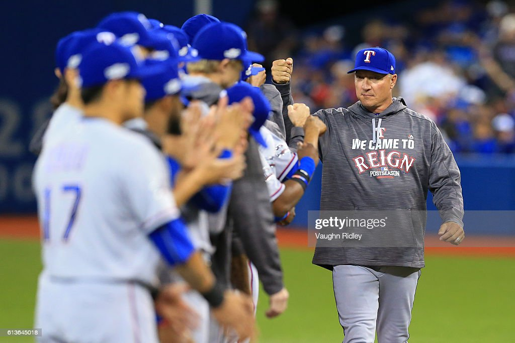 Manager Jeff Banister #28 of the Texas Rangers is introduced prior to game three of the American League Division Series against the Toronto Blue Jays at Rogers Centre on October 9, 2016 in Toronto, Canada.