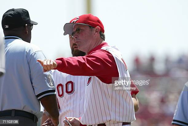 Manager Jerry Narron of the Cincinnati Reds argues a call during the game against the Florida Marlins at Great American Ball Park in Cincinnati Ohio...