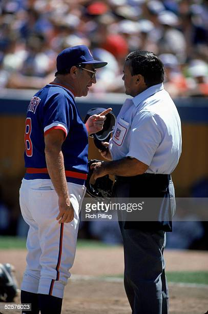 Manager Jim Frey of the Chicago Cubs argues a call with the home plate umpire during a game in August of 1985 at Wrigley Field in Chicago Illinois