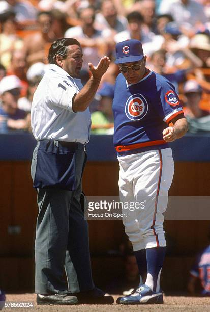 Manager Jim Frey of the Chicago Cubs argues with an umpire during a Major League Baseball game against the New York Mets circa 1985 at Shea Stadium...
