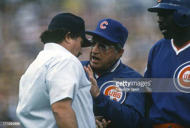 Manager Jim Frey of the Chicago Cubs argues with an umpire during an Major League Baseball game circa 1984 Frey managed the Cubs from 198486