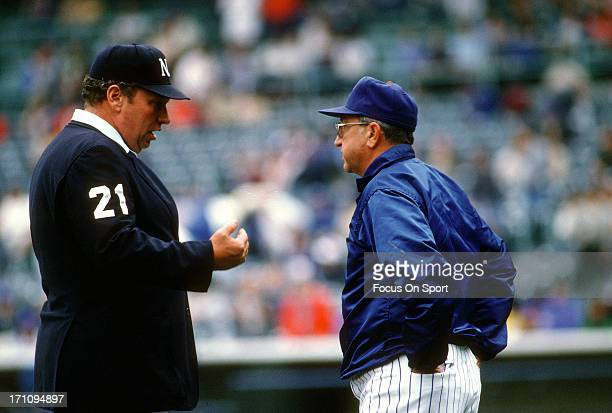 Manager Jim Frey of the Chicago Cubs argues with an umpire during an Major League Baseball game circa 1984 at Wrigley Field in Chicago Illinois Frey...