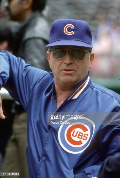 Manager Jim Frey of the Chicago Cubs looks on during batting practice before a Major League Baseball game against the New York Mets circa 1984 at...