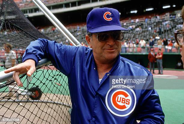 Manager Jim Frey of the Chicago Cubs looks on during batting practice before a Major League Baseball game against the Philadelphia Phillies circa...