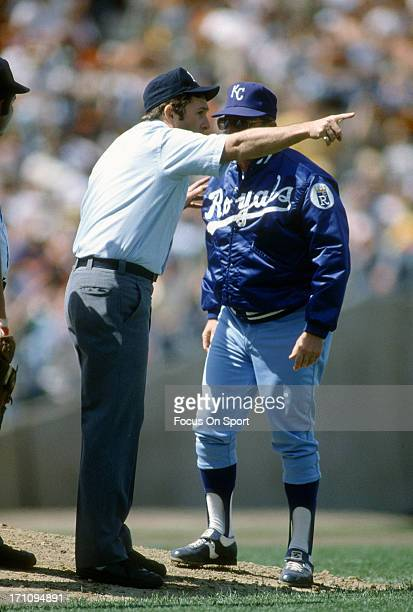 Manager Jim Frey of the Kansas City Royals argues with an umpire during an Major League Baseball game against the New York Yankees circa 1981 at...