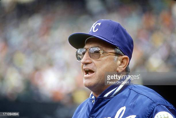 Manager Jim Frey of the Kansas City Royals looks on during an Major League Baseball game against the New York Yankees circa 1981 at Yankee Stadium in...