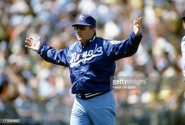 Manager Jim Frey of the Kansas City Royals walks off the field after arguing with an umpire during an Major League Baseball game against the New York...