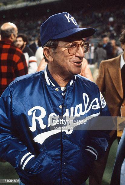 Manager Jim Frey of the Kansas City Royals walks on the field before the start of a Major League Baseball game against the New York Yankees circa...