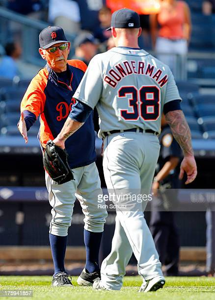 Manager Jim Leyland congratulates pitcher Jeremy Bonderman of the Detroit Tigers after the Tigers defeated the New York Yankees 93 in a MLB baseball...