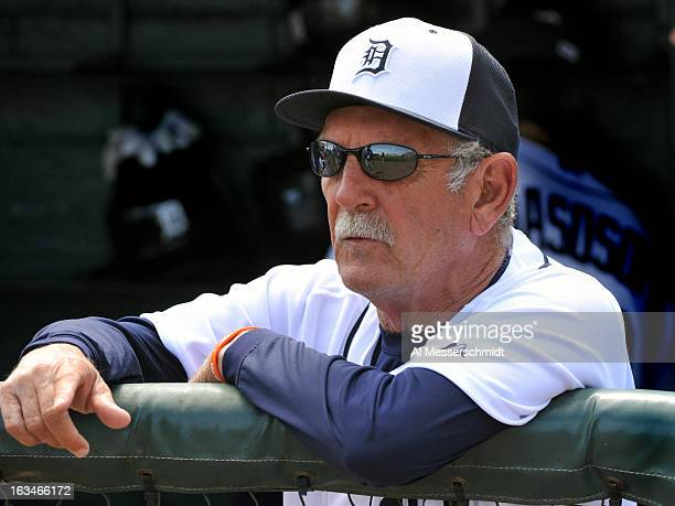 Manager Jim Leyland of the Detroit Tigers directs play against the Washington Nationals March 10 2013 at Joker Marchant Stadium in Lakeland Florida