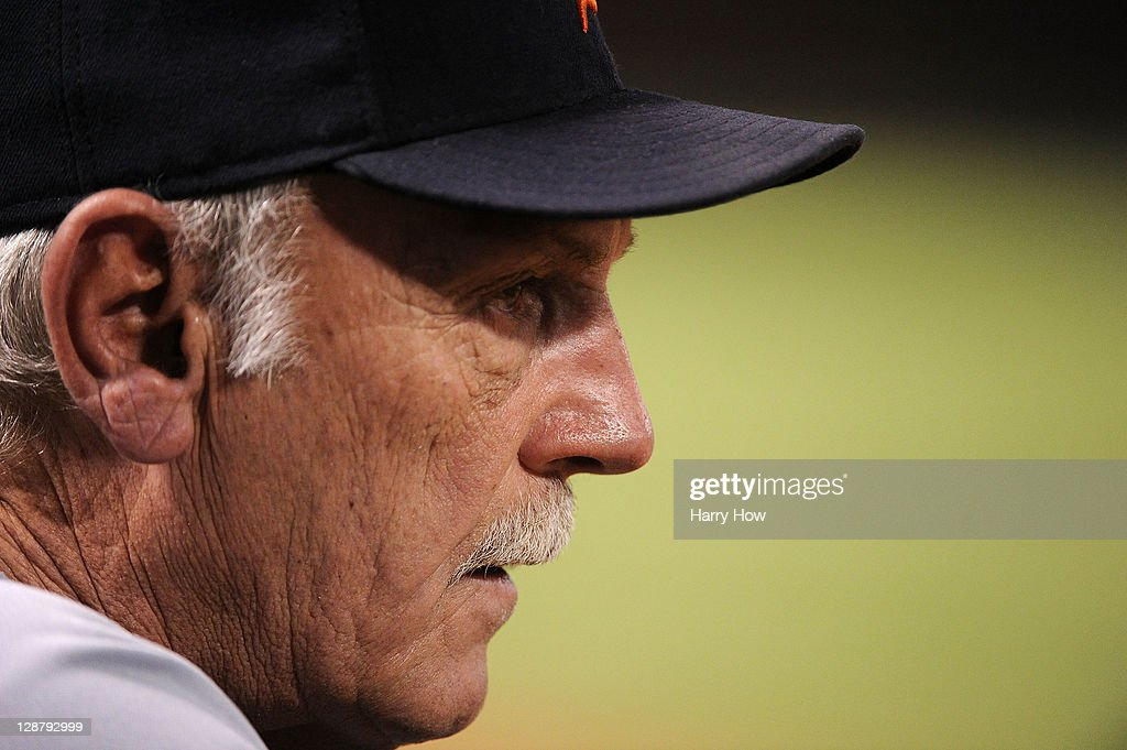 Manager Jim Leyland #10 of the Detroit Tigers looks on against the Texas Rangers in Game One of the American League Championship Series at Rangers Ballpark in Arlington on October 8, 2011 in Arlington, Texas.
