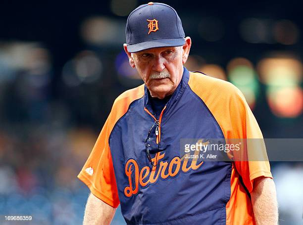 Manager Jim Leyland of the Detroit Tigers looks on against the Pittsburgh Pirates during the game on May 30 2013 at PNC Park in Pittsburgh...