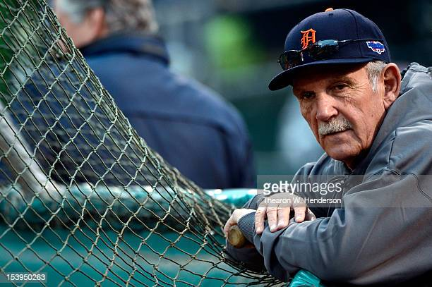 Manager Jim Leyland of the Detroit Tigers looks on during batting practice before taking on the Oakland Athletics in Game Five of the American League...