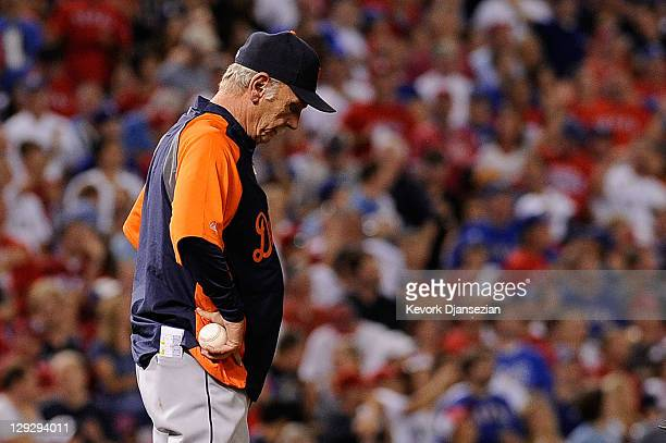 Manager Jim Leyland of the Detroit Tigers reacts during a pitcher change in the third inning of Game Six of the American League Championship Series...