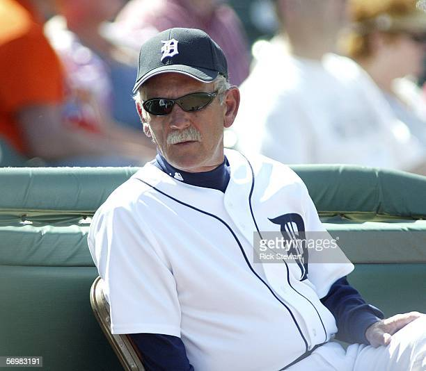 Manager Jim Leyland of the Detroit Tigers sits next to the dugout during a Spring Training game against the Cincinnati Reds on March 2 2006 at Joker...