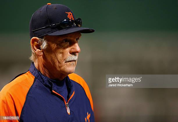 Manager Jim Leyland of the Detroit Tigers walks to the dugout before Game Two of the American League Championship Series against the Boston Red Sox...