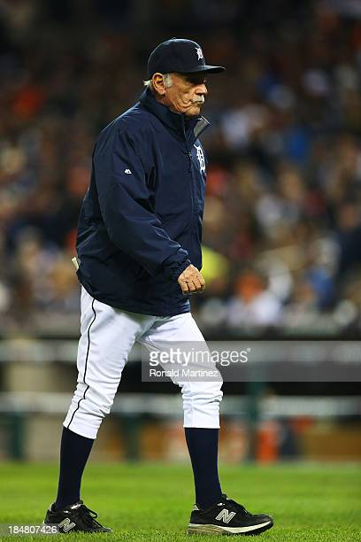 Manager Jim Leyland of the Detroit Tigers walks to the mound in the seventh inning against the Boston Red Sox during Game Four of the American League...