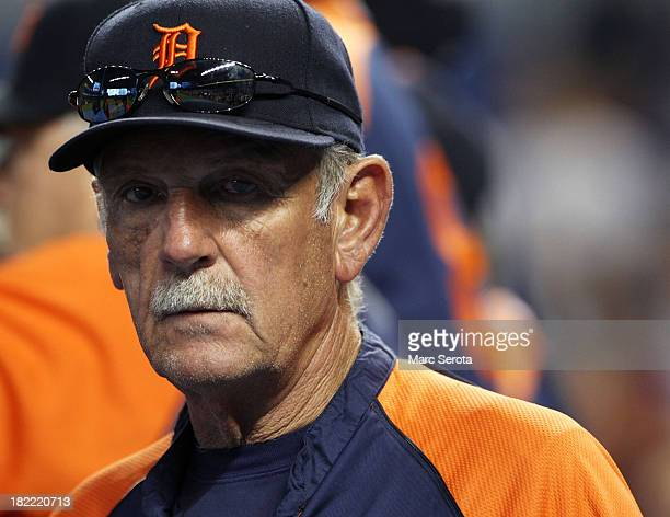 Manager Jim Leyland of the Detroit Tigers watches his team take batting practice prior to playing against the Miami Marlins at Marlins Park on...