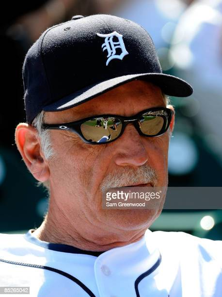 Manager Jim Leyland of the Detroit Tigers watches the action during a spring training game against the Washington Nationals at Joker Marchant Stadium...